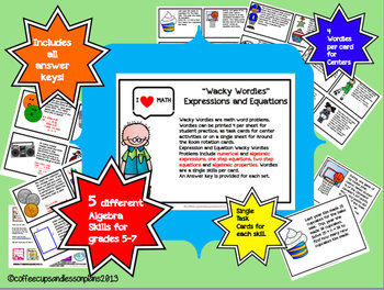 Wacky Wordies Task Cards  Pre-Algebra Edition