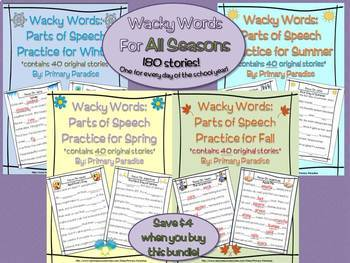 Parts of Speech Practice: Wacky Words for All Seasons BUNDLE
