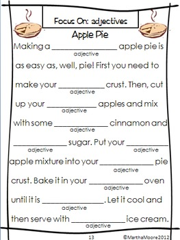 Parts of Speech Practice: Wacky Words for Fall