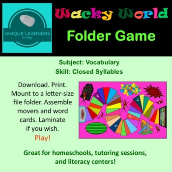 Wacky World Folder Game Vocabulary Closed Syllables
