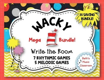 Wacky Write the Room MEGA BUNDLE - 12 Rhythmic & Melodic Games!