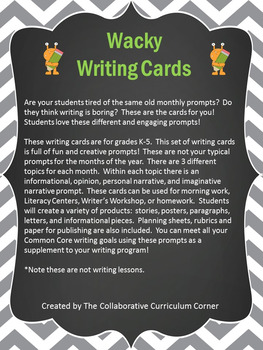 Wacky Writing Cards: August