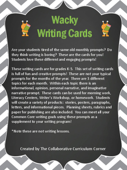Wacky Writing Cards: March