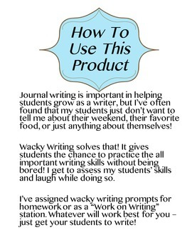 Wacky Writing Prompts (Free Sample)