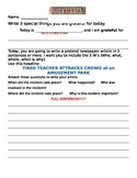 Wacky article journal writing activity 4 for Special Ed