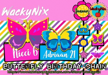 WackyNix Butterfly birthday Chain