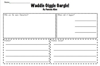 Waddle Giggle Gargle by Pamela Allen- Narrative story Elements- Activity page