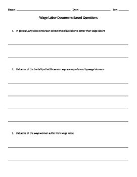Wage Labor Document Based Questions