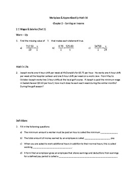 Wages, Income & Deductions (Workplace Apprenticeship math) - Full Unit