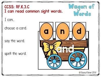 Wagon of Words Kindergarten Sight Word Literacy File Folder Game