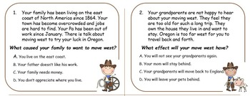 Wagons Ho! Social Studies Oregon Trail Cause and Effect Task Card set