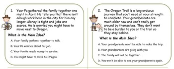 Wagons Ho! Social Studies Oregon Trail Main Idea Task Card set with Answer Key