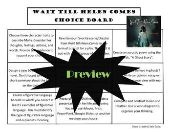 Wait Till Helen Comes Choice Board Novel Study Activities Menu Book Project