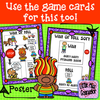 Wait or Tell:  Social Skills Game, Sorting Cards, and Poster