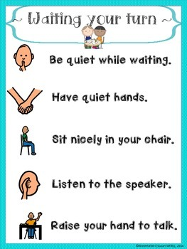 Waiting Your Turn Rules Turn Taking Poster Speech Therapy