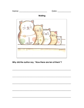Waiting by Kevin Henkes - Comprehension Sheets
