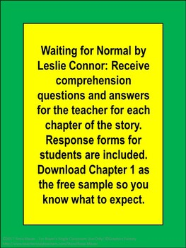 Waiting for Normal by Leslie Connor Novel Study
