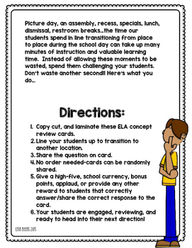 Test Prep Challenge: ELA Concept and Term Review Cards