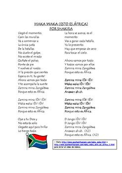 Waka Waka Spanish Song With Cloze Activity By Spark Enthusiasm Spanish