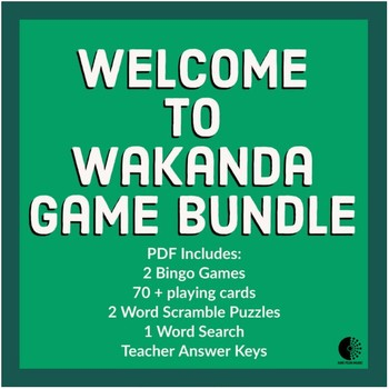 Wakanda / Black Panther Game Bundle - Sub Tub, Bingo, Word Search, Fun Friday