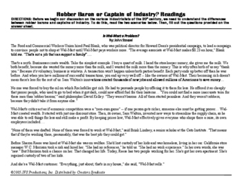 Wal-Mart: Robber Barons or Titans of Industry? Reading Activity
