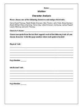 Walden - Character Analysis Activity - Henry David Thoreau