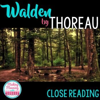 Walden Close Read - Thoreau - Transcendentalism, High School