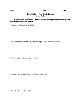 Walden - Comprehensive Study Guide - CCSS Aligned