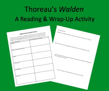 Walden Graphic Organizer Analysis Sheets Henry David Thoreau