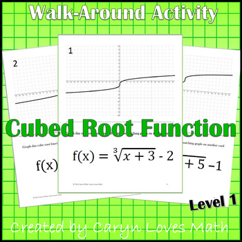 Graphing Cube Root Functions ~ Level 1 ~ Graph by Shifting Walk Around Activity
