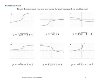 Graphing Cube Root Functions ~Level 2 ~ Walk Around Activity