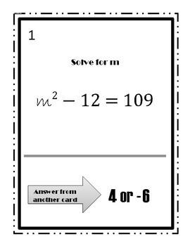 Solving Quadratic Equations using Square Root Method Walk Around Activity