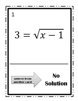 Solving Radical Equations Walk Around Activity~Square Root Function~Level 2