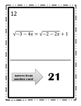 Solving Radical Equations Walk Around Activity~Square Root Functions~Level 3