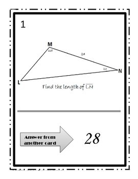 Using Law of Sines & Cosines~Finding Sides&Angle~Triangles~Walk Around Activity