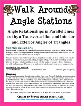 Walk Around Angle Stations CCSS 8.G.A.5
