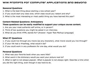 Walk In Work: 180 Bellringer Journal Prompts for Computer Applications & Beyond