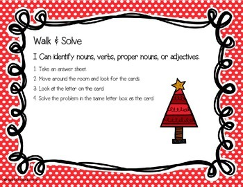 Parts of Speech Christmas Edition: Walk & Solve