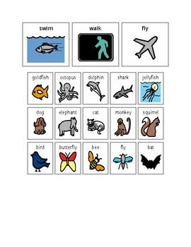 Walk Swim Fly Reader and Animal Sort
