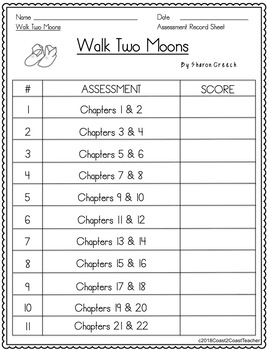 Walk Two Moons 21 Chapter Assessments