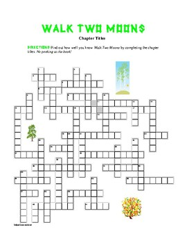 Chapter grids teaching resources teachers pay teachers walk two moons chapter title crosswordfun ccuart Images