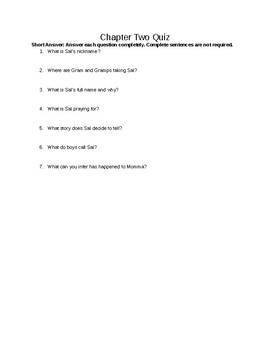 Walk Two Moons Chapter Two Quiz and Answer Key