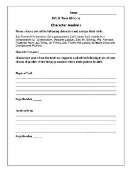 Walk Two Moons Character Analysis Activity - Sharon Creech