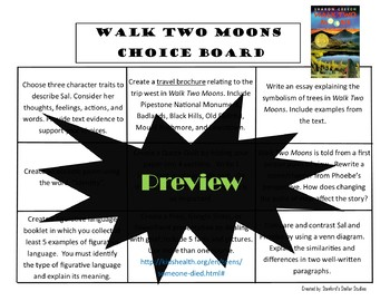 Walk Two Moons Choice Board Novel Study Activities Menu Book Project
