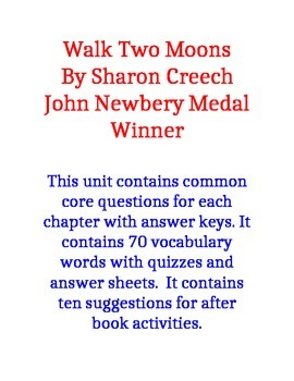 Walk Two Moons Common Core Questions and Vocabulary