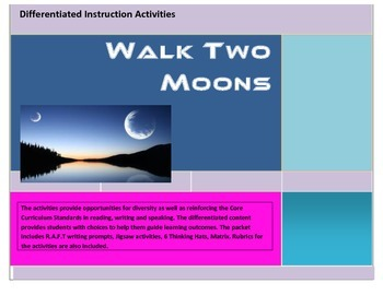 Walk Two Moons Differentiated Instruction Activities