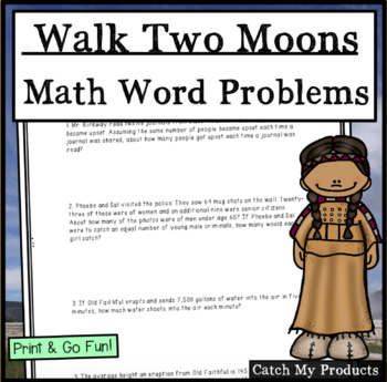 Walk Two Moons Worksheet : Division Word Problems for Novel by Sharon Creech