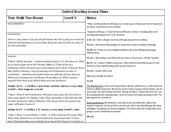 Walk Two Moons Guided Reading Lesson Plans