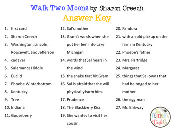 Walk Two Moons I Have Who Has Reading Comprehension and Listening
