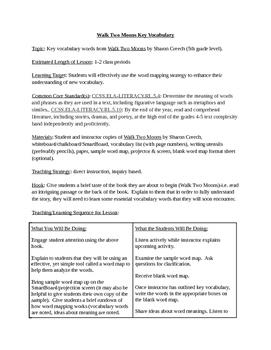 Walk Two Moons Key Vocabulary Lesson Plan